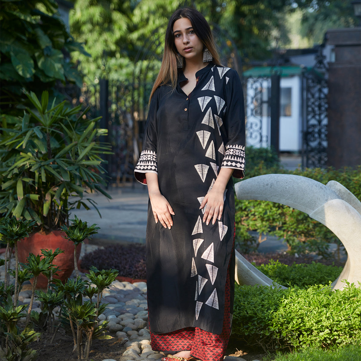 Midnight Black Triangle Print Kurta