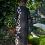 Load image into Gallery viewer, Midnight Black Triangle Print Kurta