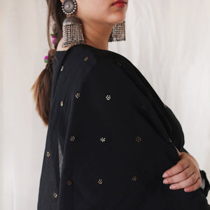 Midnight Black Mukaish Stole