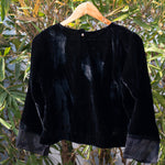 Load image into Gallery viewer, Midnight Black Velvet Blouse