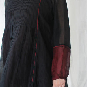Midnight Black and Burgundy Kurti
