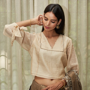 Nude Embroidered Tissue Blouse