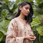 Load image into Gallery viewer, Peach Floral Blockprinted Kurta Set