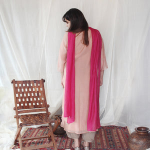 Peach Smocking Kurta