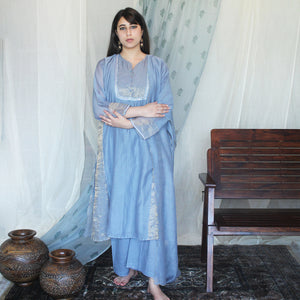 Powder Blue Embroidered Tissue Kurta Set