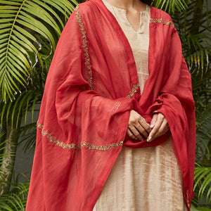 Scarlet Embroidered Zari Dupatta