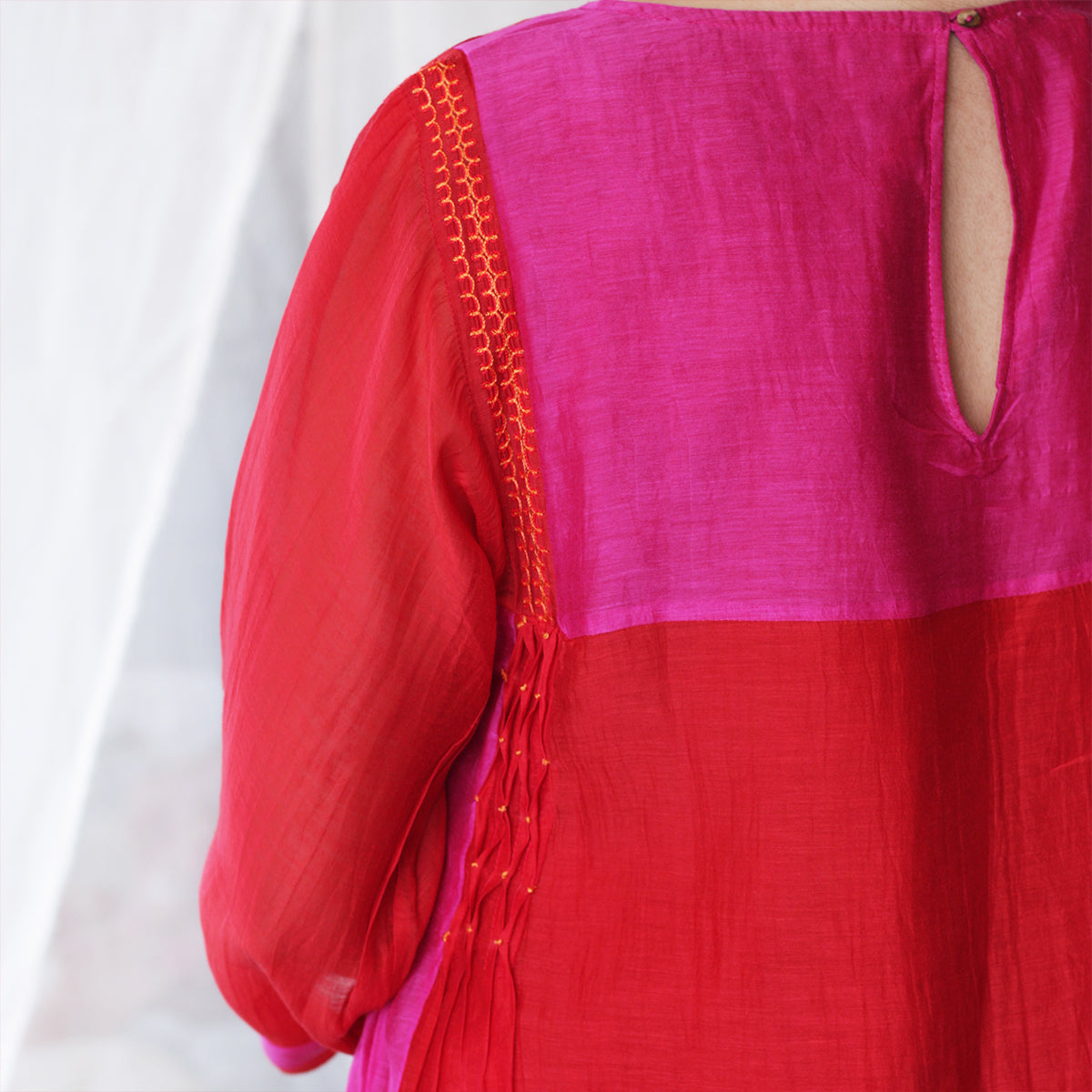 Scarlet and Fuchsia Kurta Set