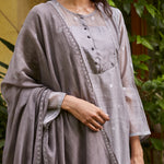 Load image into Gallery viewer, Slate Woven Dots Kurta Set