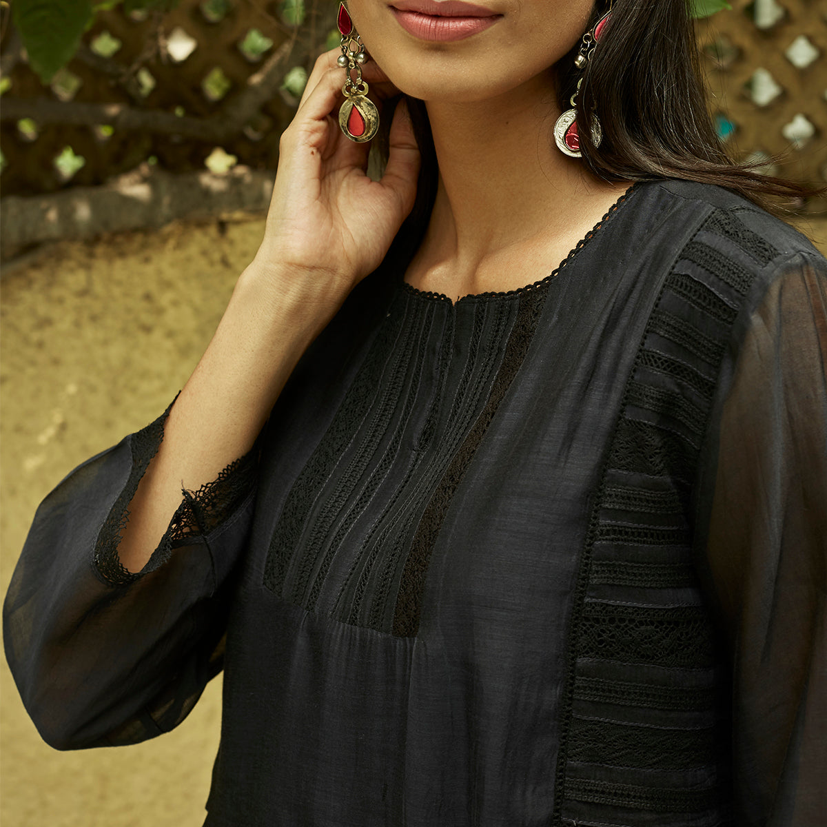 Midnight Black Lace Detail Kurta