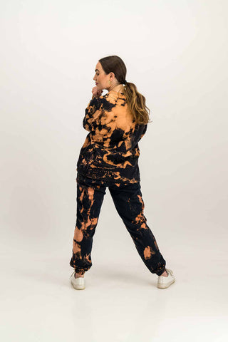 Unisex Oversized Black Acid Wash Tracksuit