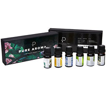 Load image into Gallery viewer, Essential Oils by PURE AROMA 100% Pure Therapeutic Grade Oils kit- Top 6 Aromatherapy Oils Gift Set-6 Pack, 10ML(Eucalyptus, Lavender, Lemon Grass, Orange, Peppermint, Tea Tree)