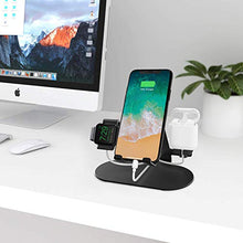 Load image into Gallery viewer, 3 in 1 Aluminum Charging Station for Apple Watch Charger Stand Dock for iWatch Series 4/3/2/1,iPad,AirPods and iPhone Xs/X Max/XR/X/8/8Plus/7/7 Plus /6S /6S Plus(Black)