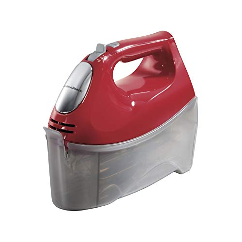 Hamilton Beach 6-Speed Electric Hand Mixer, Beaters and Whisk, 250W with Snap-On Storage Case, Red
