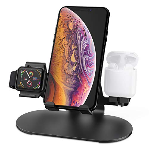 3 in 1 Aluminum Charging Station for Apple Watch Charger Stand Dock for iWatch Series 4/3/2/1,iPad,AirPods and iPhone Xs/X Max/XR/X/8/8Plus/7/7 Plus /6S /6S Plus(Black)