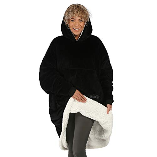 THE COMFY Original | Oversized Microfiber & Sherpa Wearable Blanket, Seen On Shark Tank, One Size Fits All Black