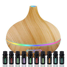 Load image into Gallery viewer, Ultimate Aromatherapy Diffuser & Essential Oil Set - Ultrasonic Diffuser & Top 10 Essential Oils - 300ml Diffuser with 4 Timer & 7 Ambient Light Settings - Therapeutic Grade Essential Oils - Lavender