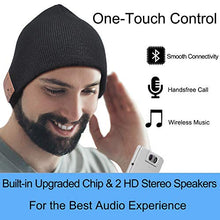 Load image into Gallery viewer, Upgraded Bluetooth Beanie Hat Headphones Wireless Headset Winter Music Hat Knit Cap with Stereo Speakers & Mic Unique Christmas Tech Gifts for Women Mom Her Men Teen Boys Girls Black