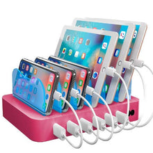 Load image into Gallery viewer, Hercules Tuff Charging Station for Multiple Devices, with 6 USB Fast Ports and 6 Short Mixed USB Cables Included for Cell Phones, Smart Phones, Tablets, and Other Electronics, Pink