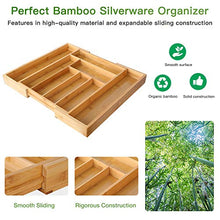 Load image into Gallery viewer, Bamboo Expandable Drawer Organizer for Utensils Holder, Adjustable Cutlery Tray, Wood Drawer Dividers Organizer for Silverware, Flatware, Knives in Kitchen, Bedroom, Living Room by Pipishell