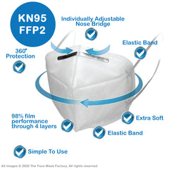 Adult KN95 FFP2 Face Mask ; Breathable & Reusable