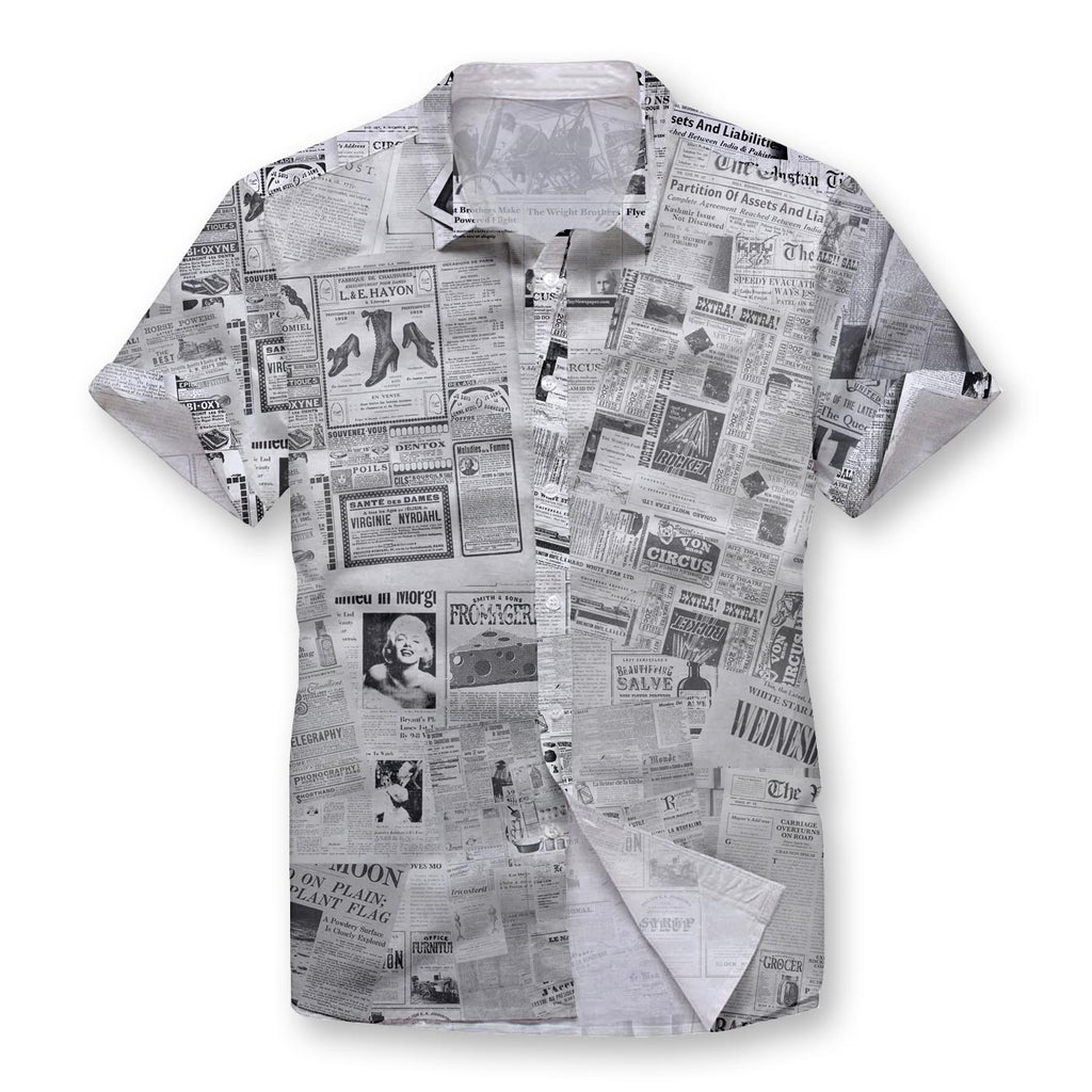 Pollogie™ Newspaper Pattern Button Shirt