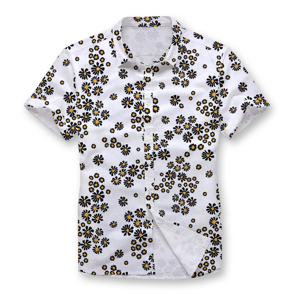 Pollogie™ White Daisy Pattern Button Shirt