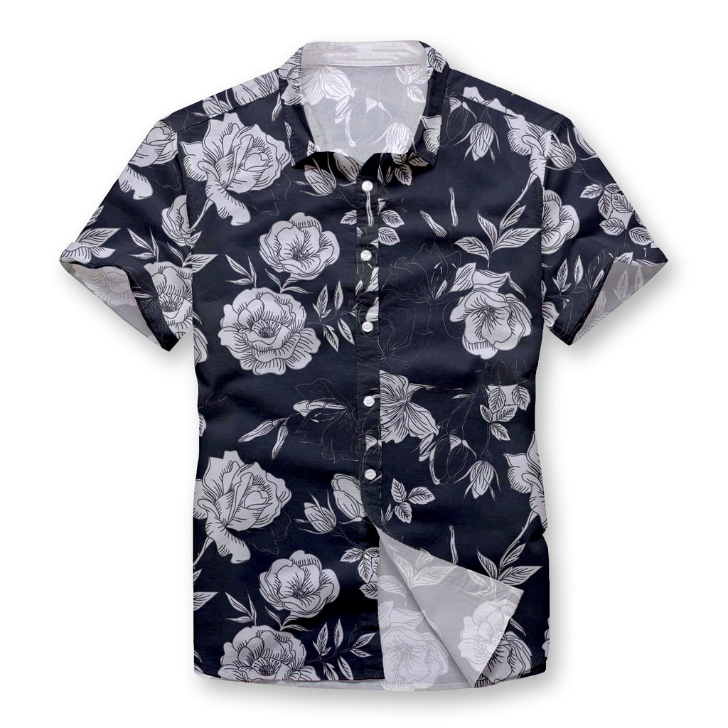 Pollogie™ Silver Flowers Button Shirt