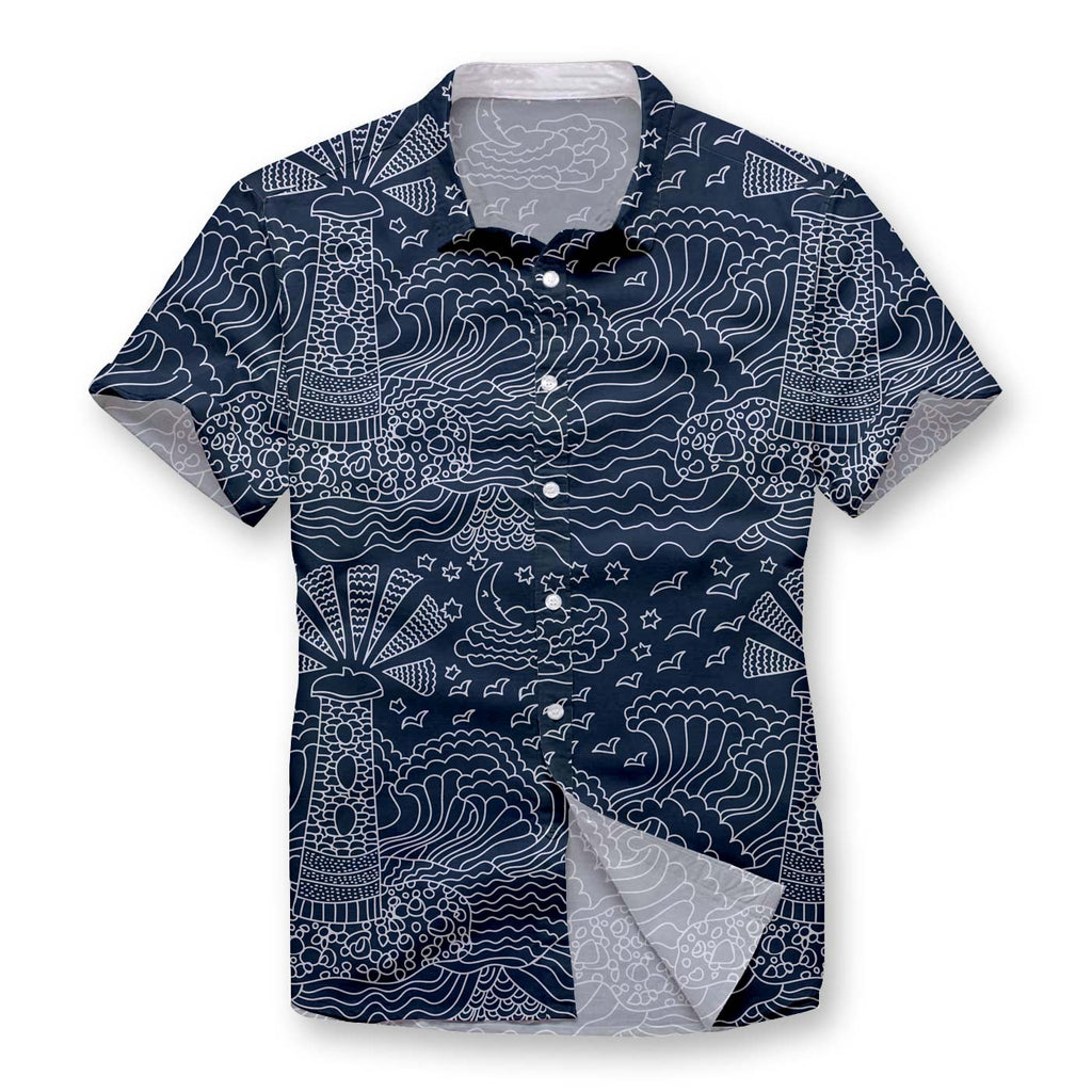 Pollogie™ Lighthouse Sketch Button Shirt