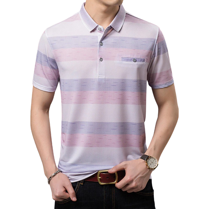 Pollogie™ Striped Button Polo Shirt