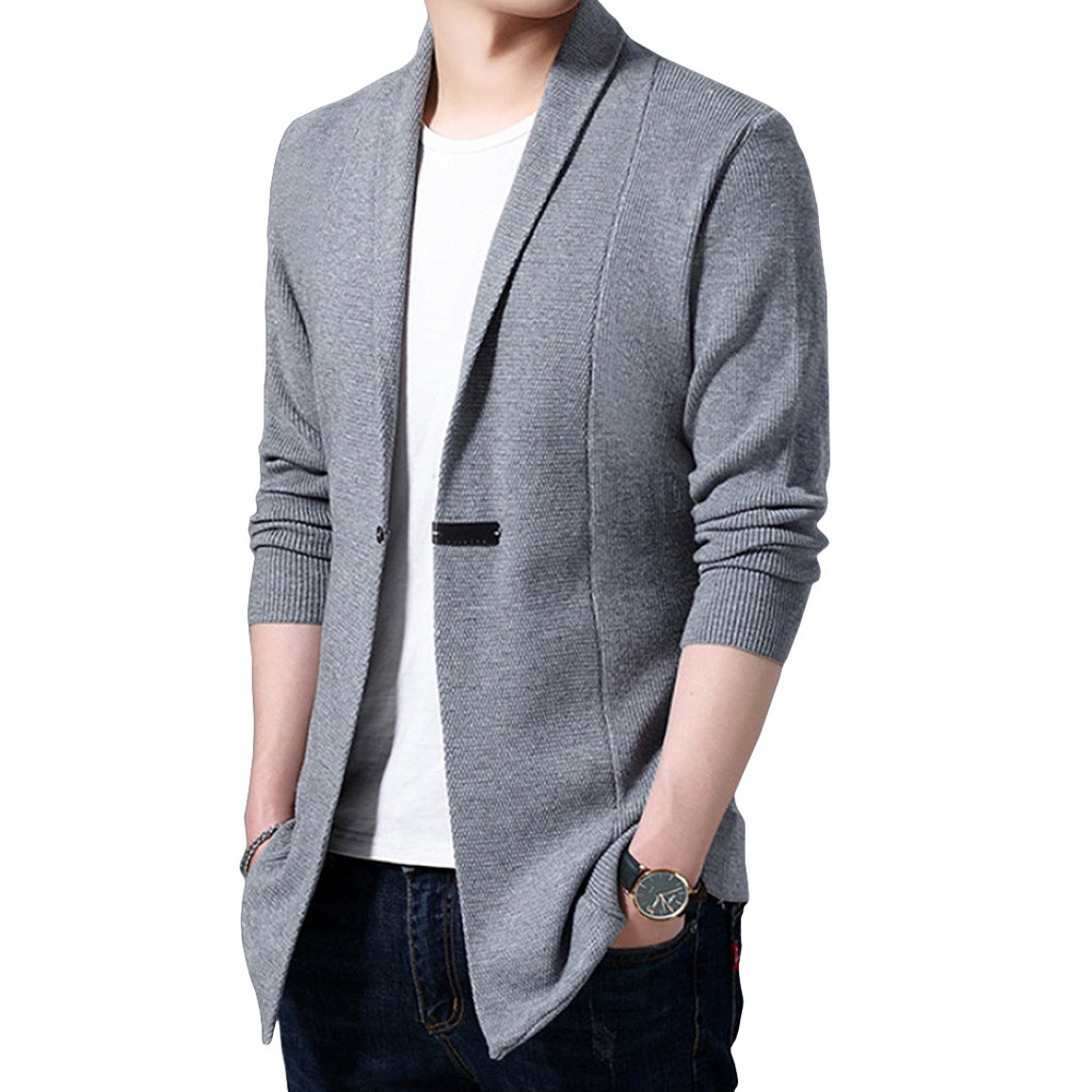 Pollogie™ Solid Single Button Cardigan