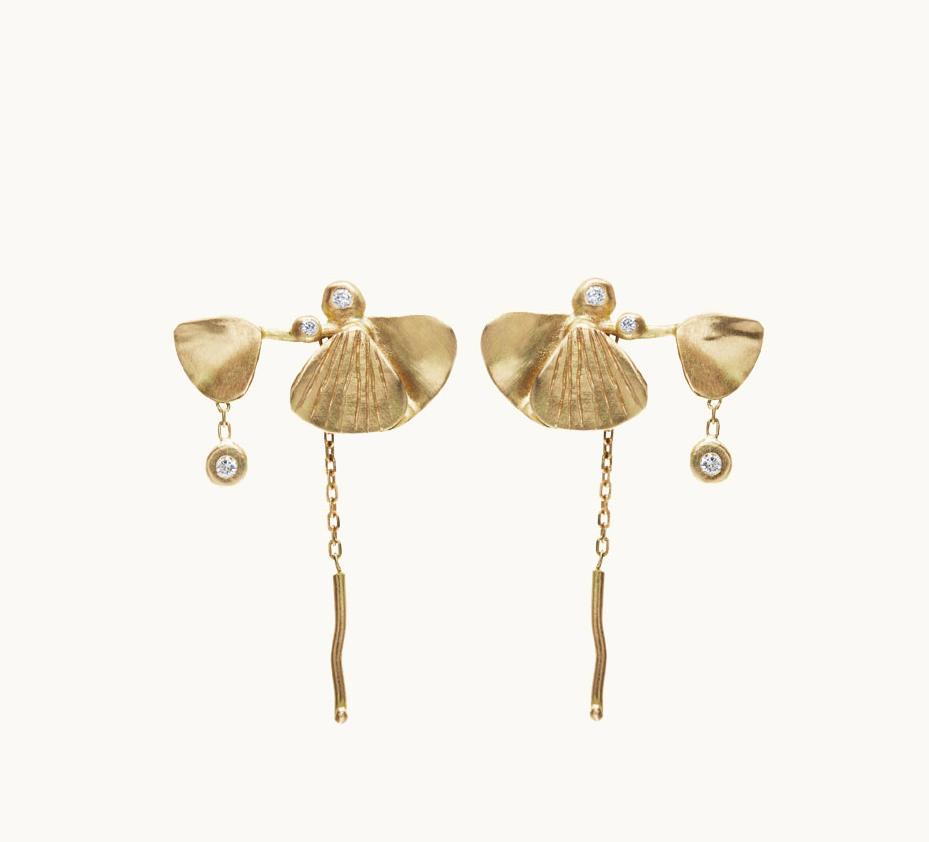 Gingko Chain Earrings