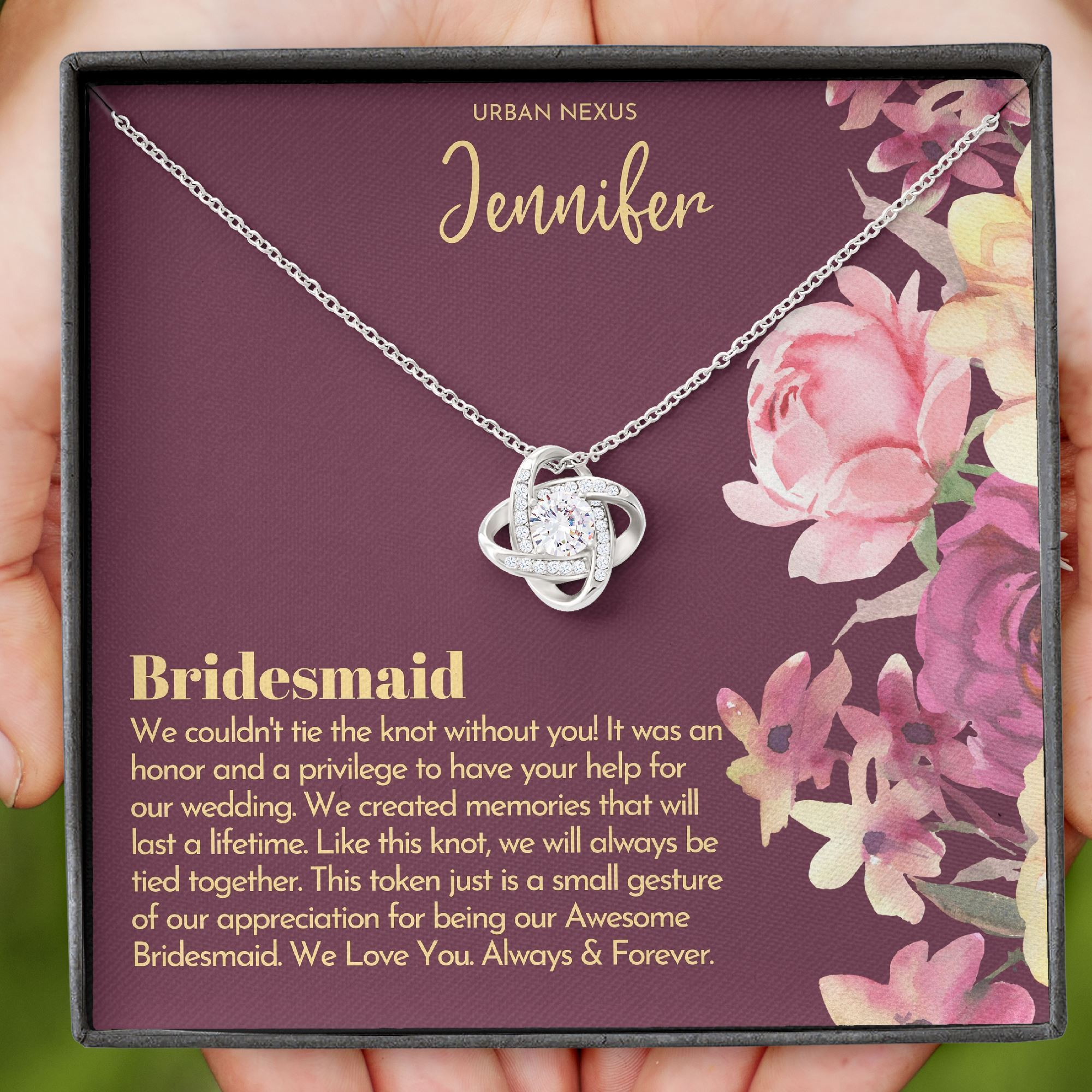 will you be my bridesmaid gift bridesmaid necklace bff bridal necklace wedding necklace for women bow necklace tie the knot love knot