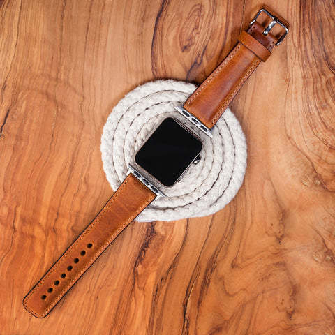 Leather Apple Watch Band Cuff Dark Brown