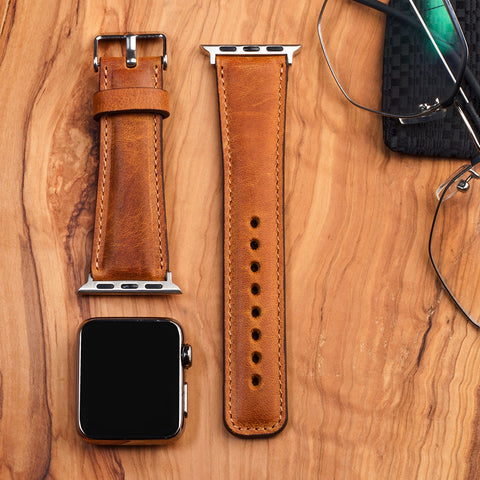 Leather Apple Watch Band Classic Dark Brown