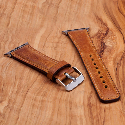 Leather Apple Watch Band Dark Brown