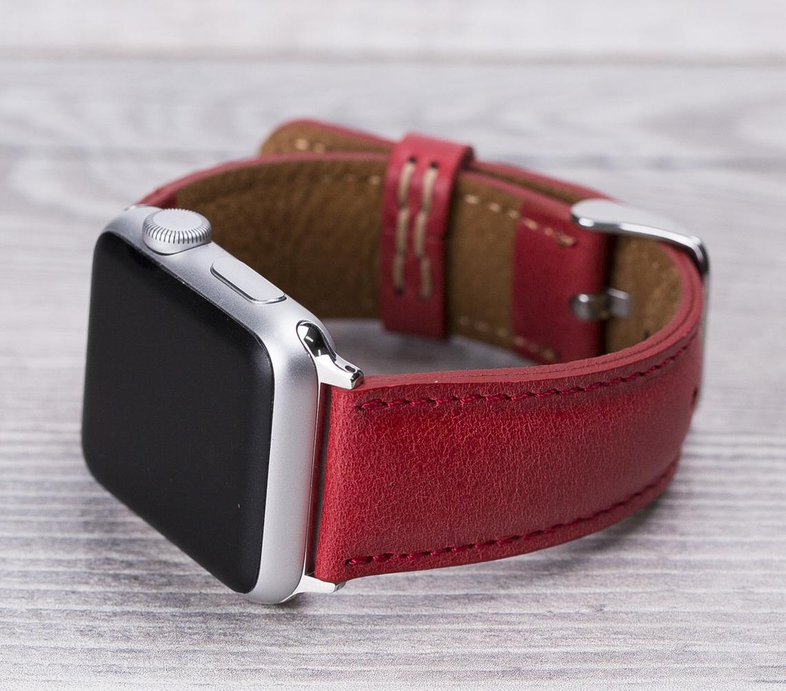 Apple Watch Leather Band Classic Berry Red