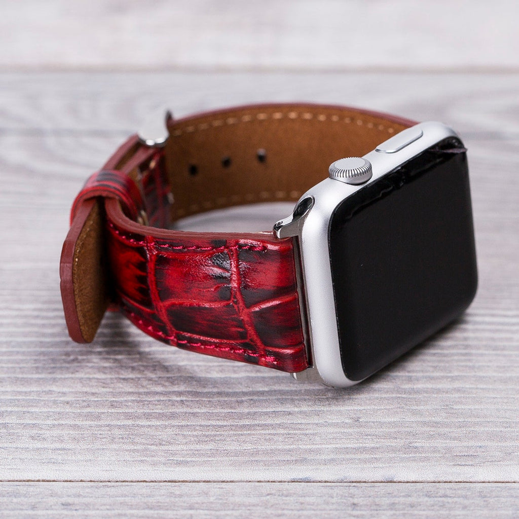 Apple Watch Leather Band Croco Pattern Red