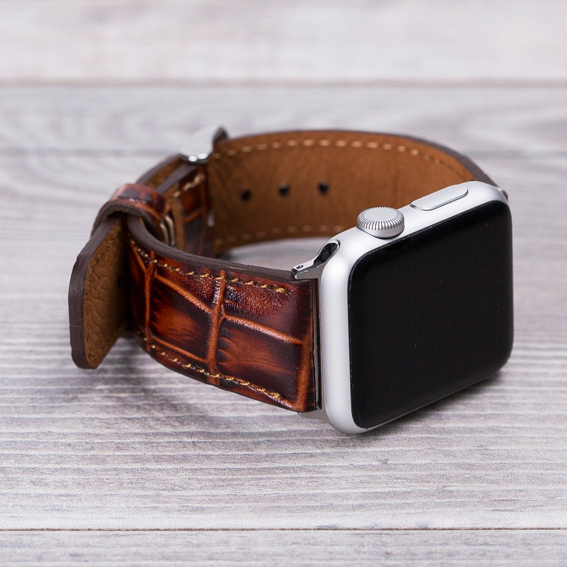 Apple Watch Leather Band Croco Pattern Brown