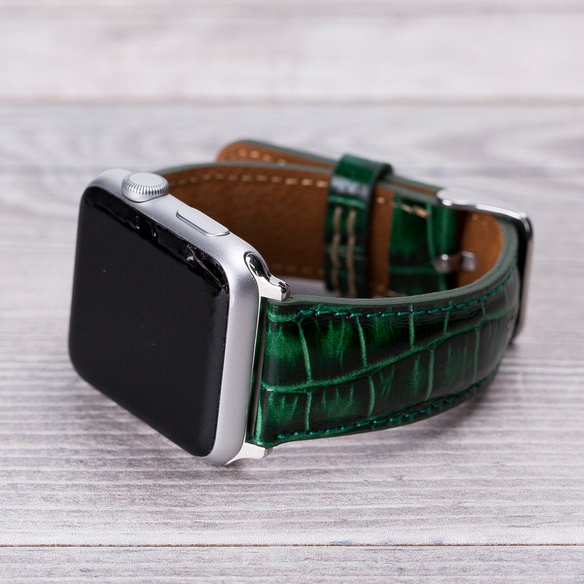 Apple Watch Leather Band Croco Pattern Green