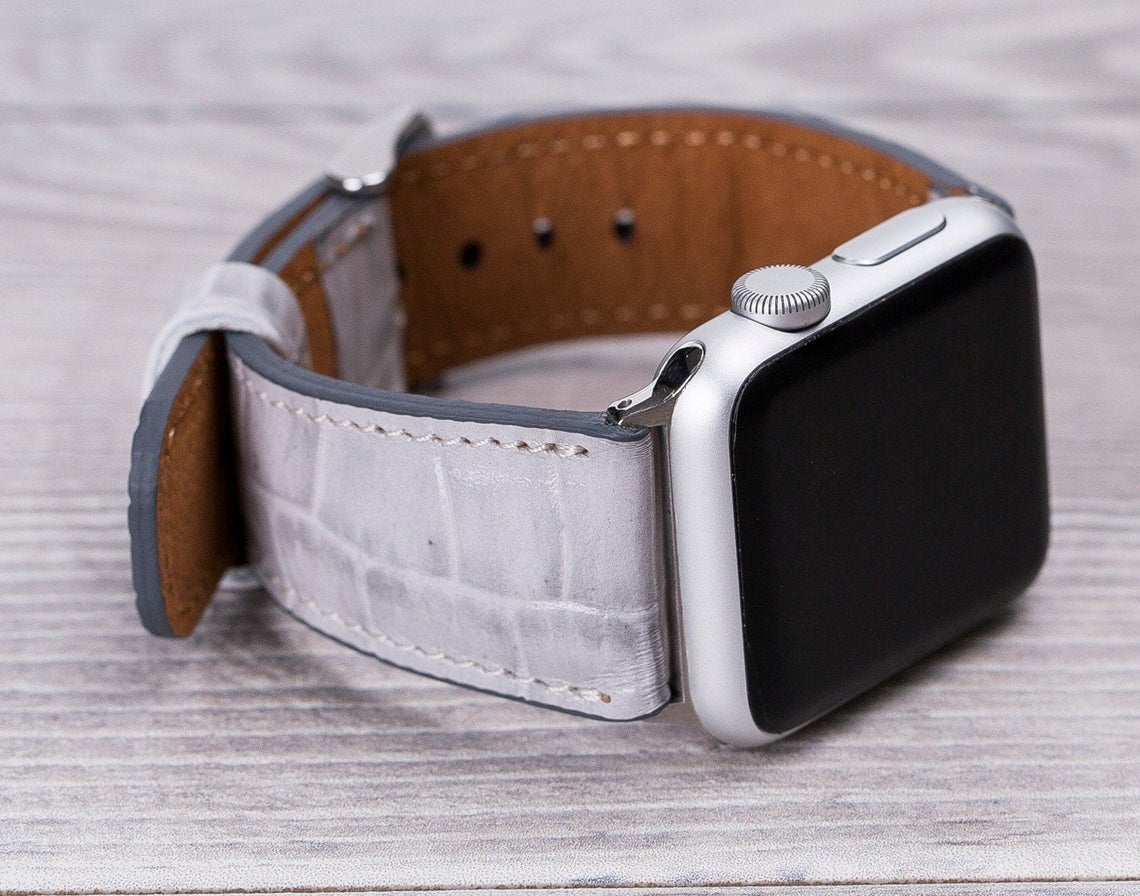 Apple Watch Leather Band Croco Pattern White