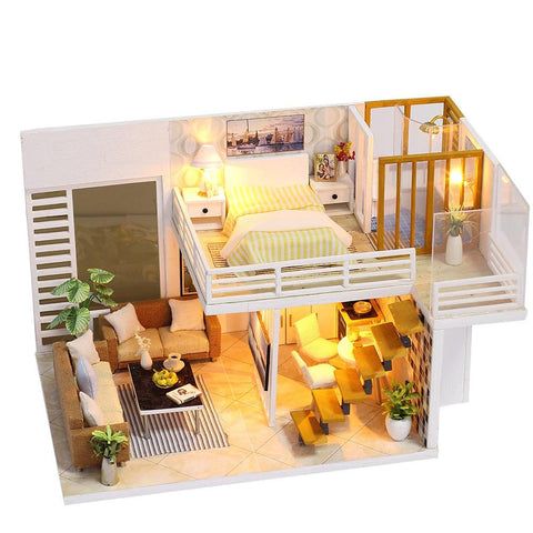 Miniature Super Mini Size Doll House Model Building Kits Wooden Furniture Toys DIY Dollhouse Girl Bedroom Simple and Elegant - VIP Toys and Hobbies