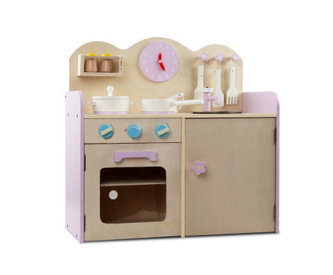 Keezi Kids Wooden Kitchen Play Set - Natural & Pink - VIP Toys and Hobbies