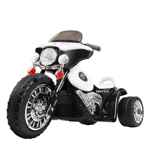 Rigo Kids Ride On Motorbike Motorcycle Toys Black White - VIP Toys and Hobbies