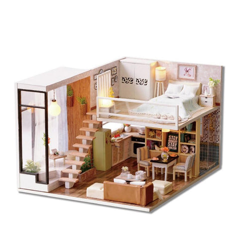 Dollhouse Miniature DIY House Kit Assembly Model Room With Furniture (Waiting For The Time) - VIP Toys and Hobbies