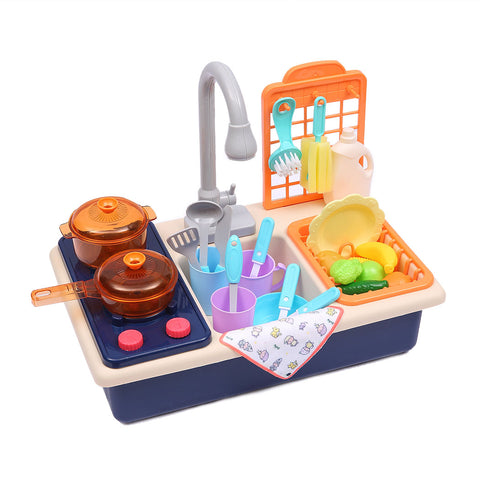 Toys 35x Kids Kitchen Play Set Dishwasher Sink Dishes Toys Cookware Pretend Play Blue - VIP Toys and Hobbies