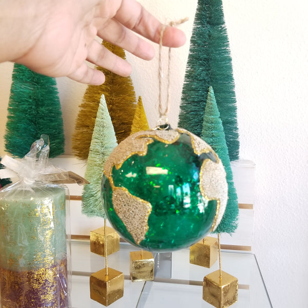 Globe Christmas Ornament | Planet Earth Beaded Ornament