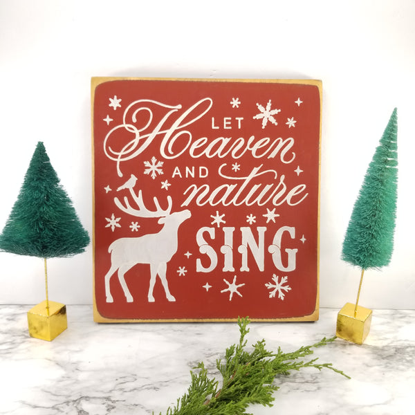 Let Heaven and Nature Sing Wooden Sign In Barn Red color