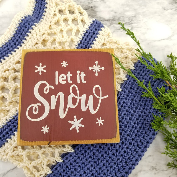 Let it snow mini wood sign