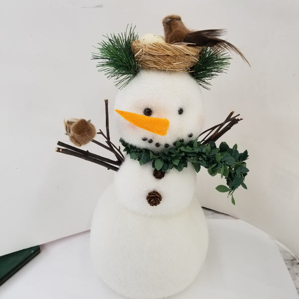 Snowman With Bird Nest