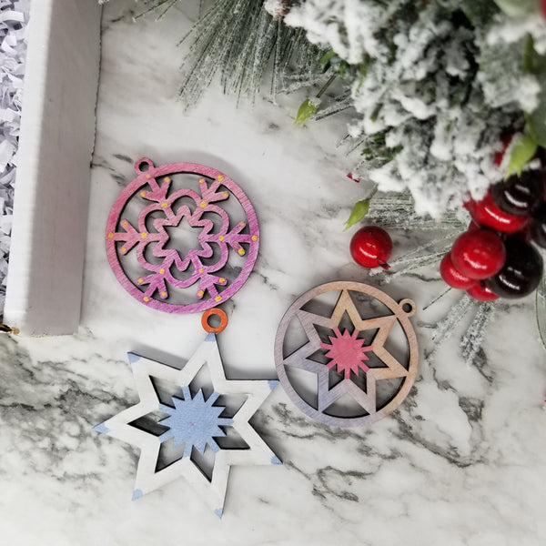 Paint your snowflakes Christmas ornaments